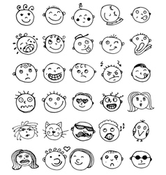 Set of thirty hand drawn emoticons or vector
