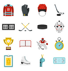 Hockey set flat icons vector