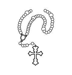rosary catholic faith vector image