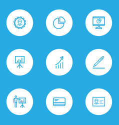 trade outline icons set collection of manager vector image