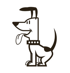 cartoon dog puppy pet sitting with collar vector image