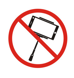 Selfie forbidden icon with no sign isolated on vector