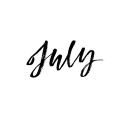 Hand drawn typography lettering july month vector