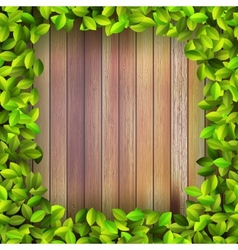 Fresh spring leaf plant over wood  eps10 vector