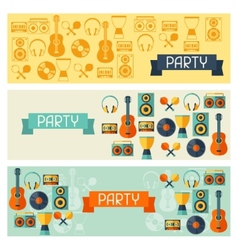 Horizontal banners with musical instruments in vector