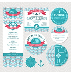 Set of marine wedding cards vector