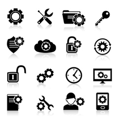 Settings icons black vector