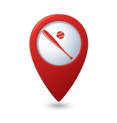 Red map pointer with baseball icon vector