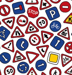 Seamless pattern of road signs vector image