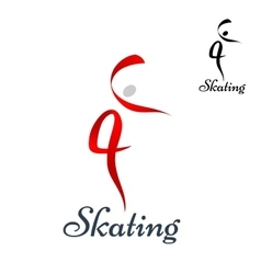 Figure skating symbol on white vector image