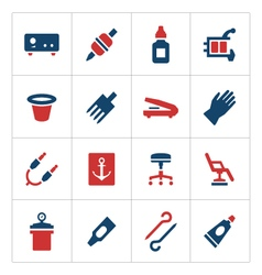 Set color icons of tattoo equipment vector