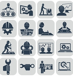 Engineering icons set on gray vector image