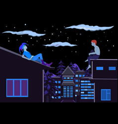 Two guys sitting on the roof at night vector