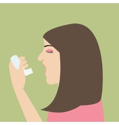 Woman asthma holding inhaler illnes cartoon vector