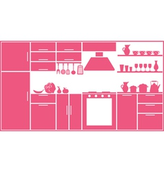Pink kitchen silhouette vector image