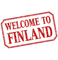 Finland - welcome red vintage isolated label vector
