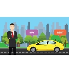 A businessman choose between buy or rent to buy vector