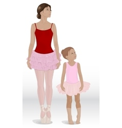Mom and daughter ballerina vector