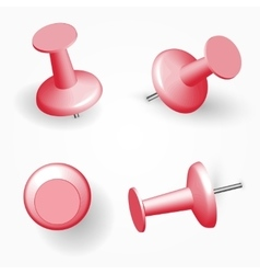 Collection of various red push pins thumbtacks vector