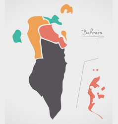 Bahrain map with states and modern round shapes vector