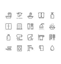 bathroom icon set 48x48 vector image