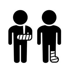Broken arm and leg icons set vector
