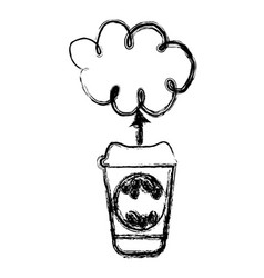 Contour coffee online clound icon vector