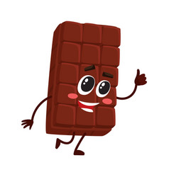 Cute chocolate bar character with funny face vector