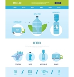 Design template with icons of water bottle office vector image vector image