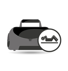 Fitness sport bag icon silhouette abs workout vector
