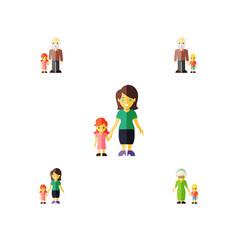 Flat icon relatives set of grandson grandpa vector