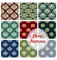 Floral pattern set flowery Damask ornament vector image vector image