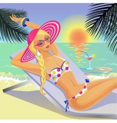 Girl in bikini on the sunny tropical beach vector image