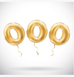golden number 000 three zeros metallic balloon vector image