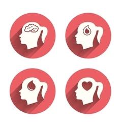 Head with brain iconFemale woman symbols vector image