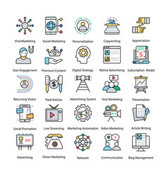 internet and digital marketing colored line icons vector image