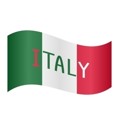 Italian flag waving with word Italy on white vector image