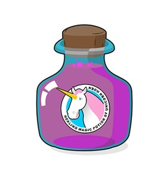 Magical potion from horn of unicorn magic drink vector