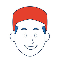 Man with sport cap character face avatar male vector