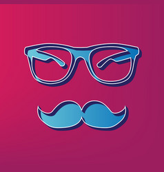 Mustache and glasses sign blue 3d printed vector