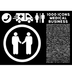 Persons agreement rounded icon with medical bonus vector