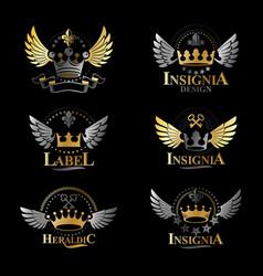 royal crowns emblems set heraldic design elements vector image vector image