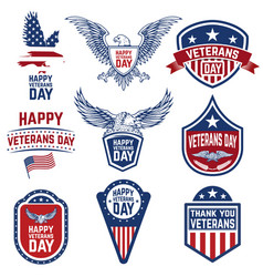 set of veterans day emblems isolated on white vector image vector image