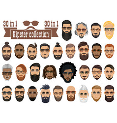 superset of 30 hipsters bearded men with vector image