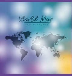 World map sky and lights in degraded colorful vector