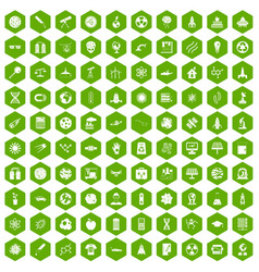 100 space technology icons hexagon green vector