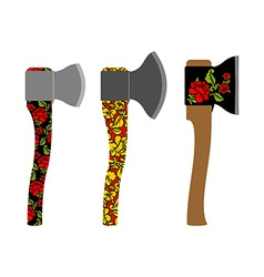 Axe traditional russian pattern of colors - vector