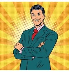 Successful retro businessman vector