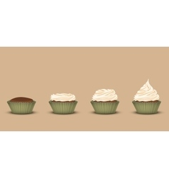 Set of cupcakes with a different amount of cream vector