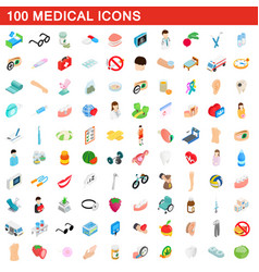100 medical icons set isometric 3d style vector